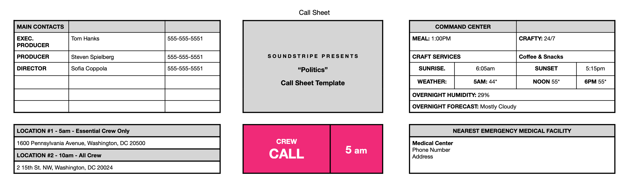 Free call sheet template