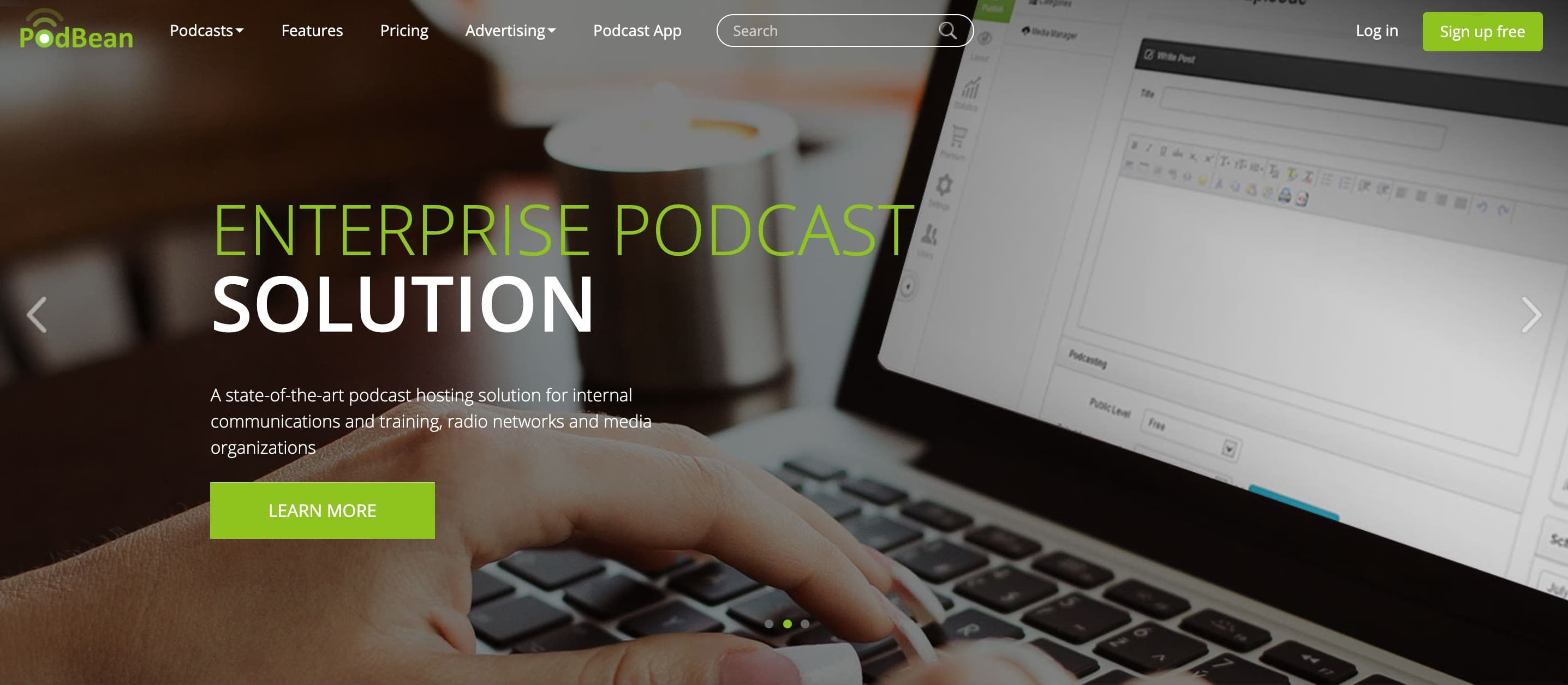 Podbean podcast software homepage