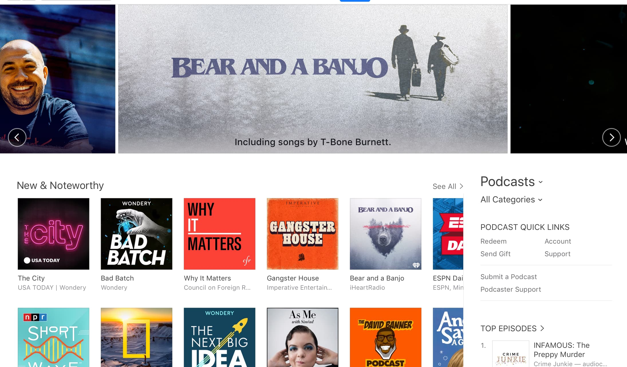 A list of podcasts in iTunes