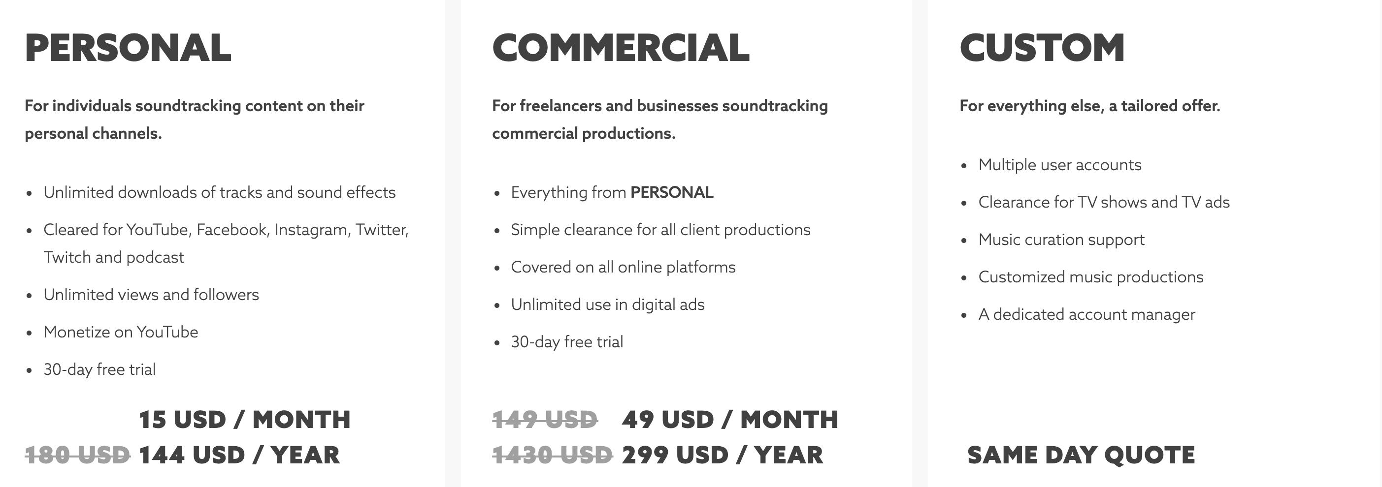 Epidemic Sound pricing