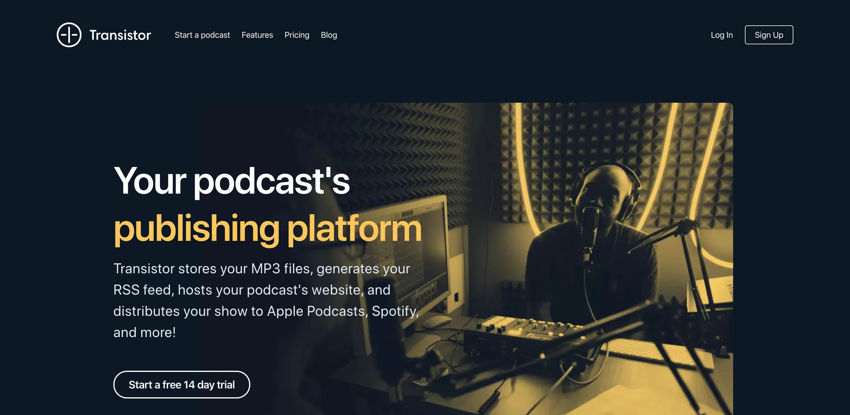 Transistor podcast hosting homepage