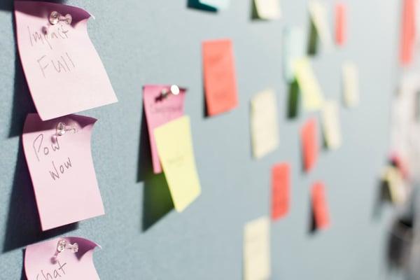 A board of sticky notes