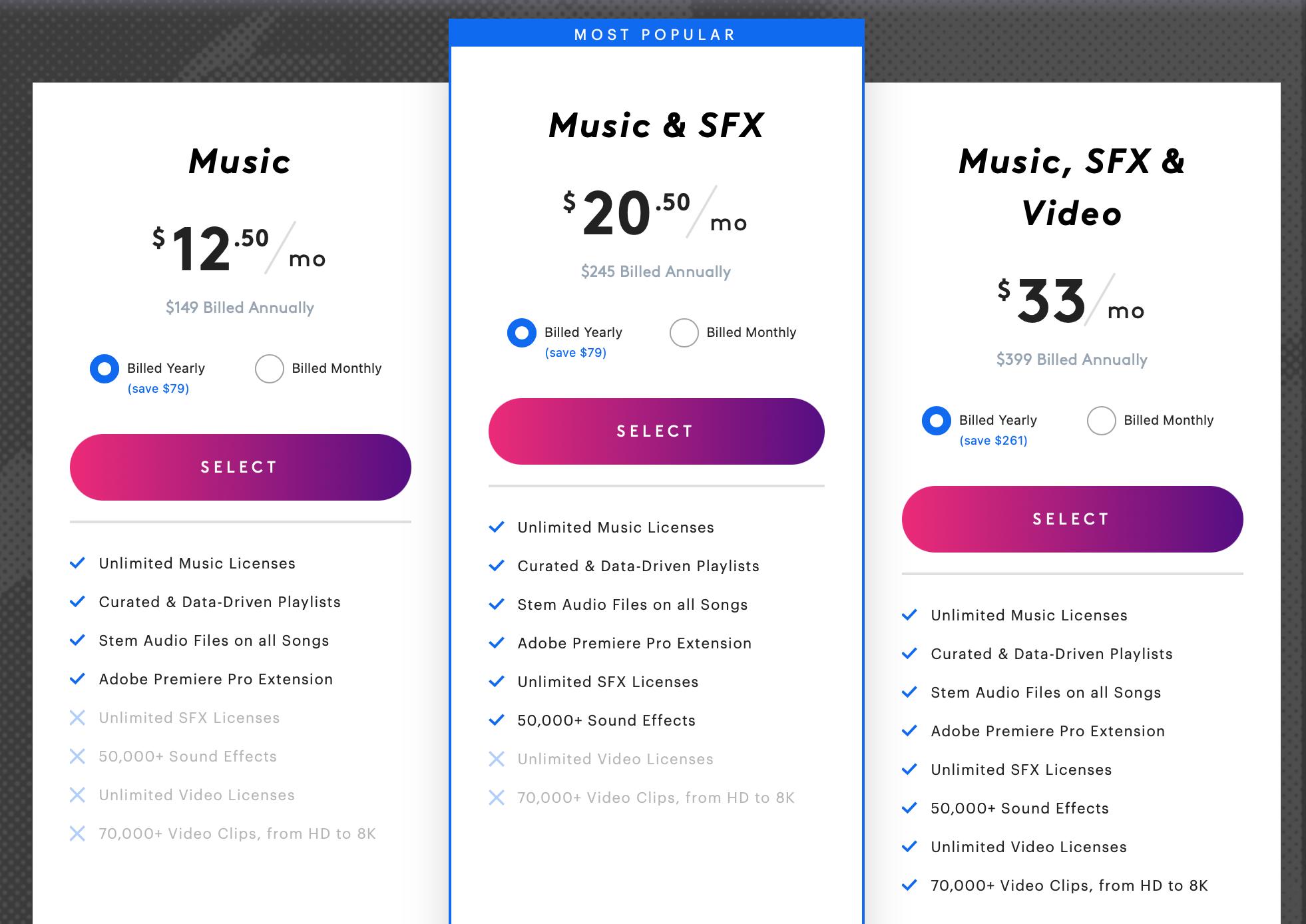 SS Pricing Screenshot