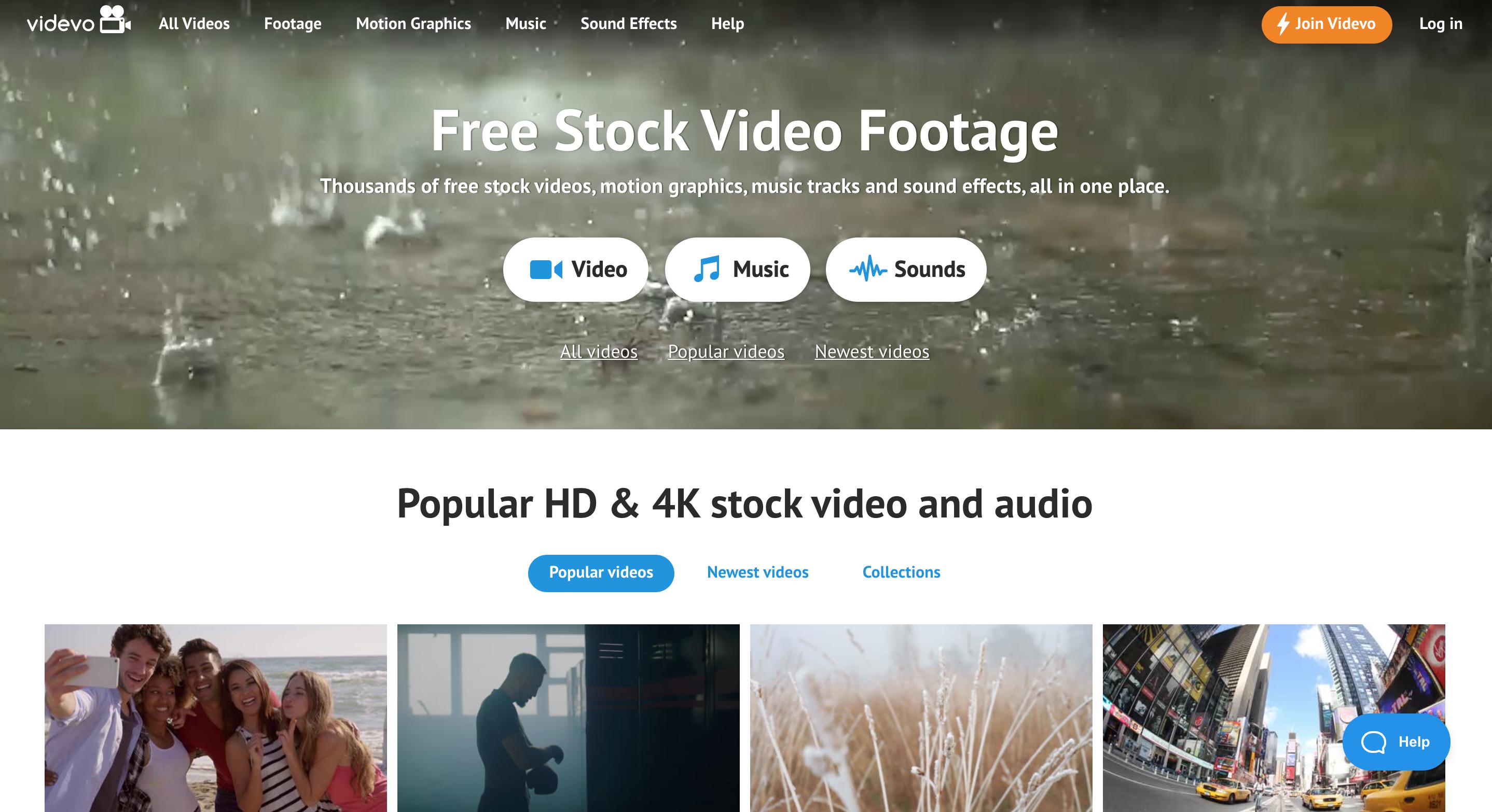 Videvo homepage
