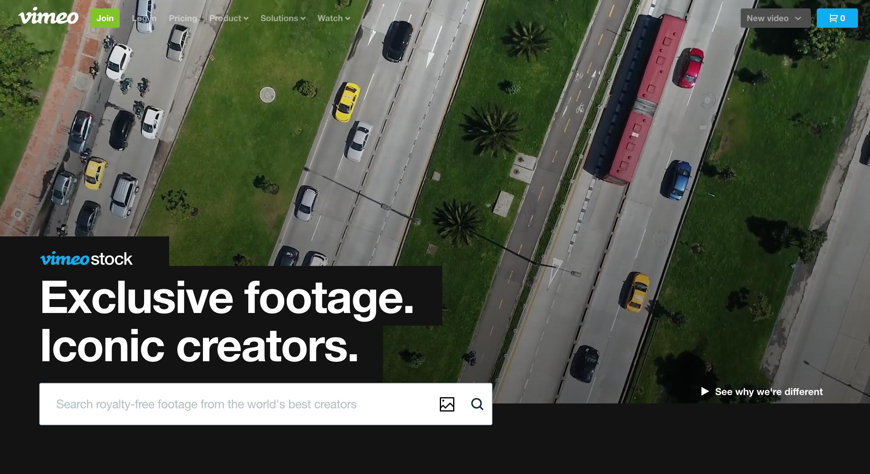 Vimeo stock homepage