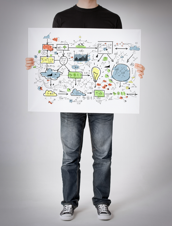 Man-showing-idea-on-white-poster-board