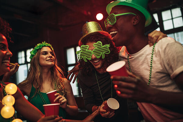 Young-people-celebrating-St.-Patrick's-Day-at-a-party