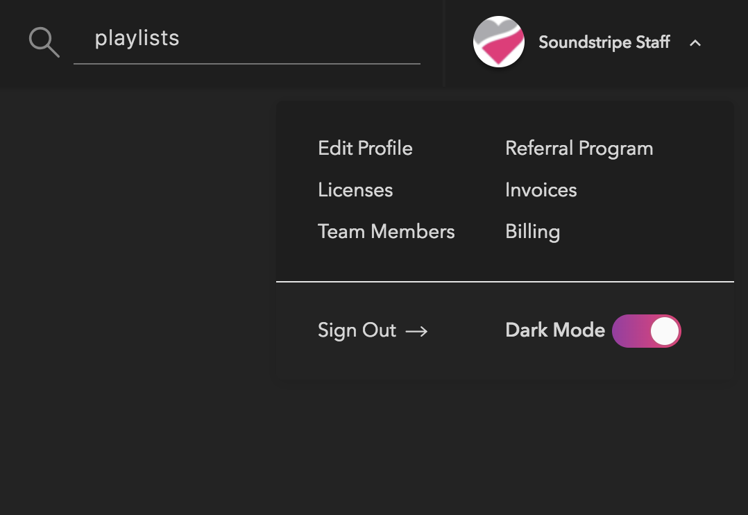 Image of how to turn on Soundstripe Dark Mode