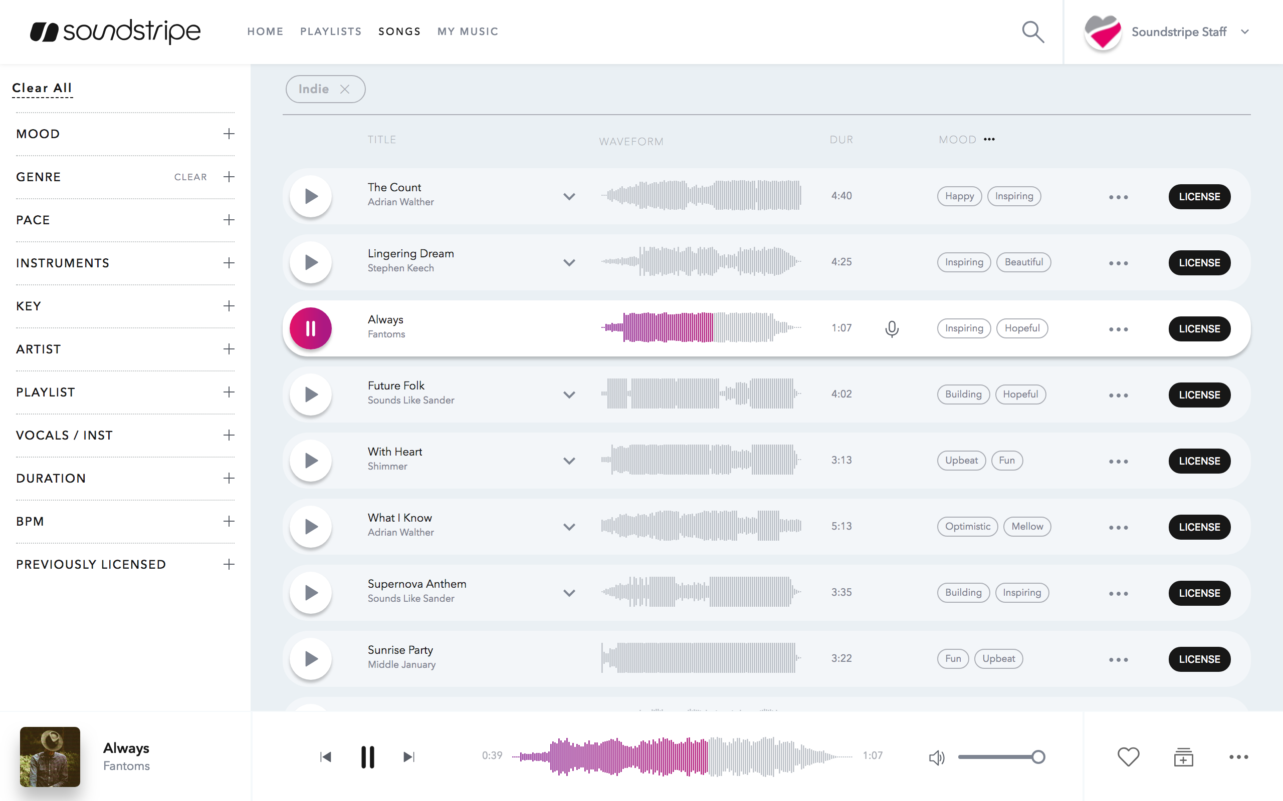 Image of Soundstripe Song Search and Filter