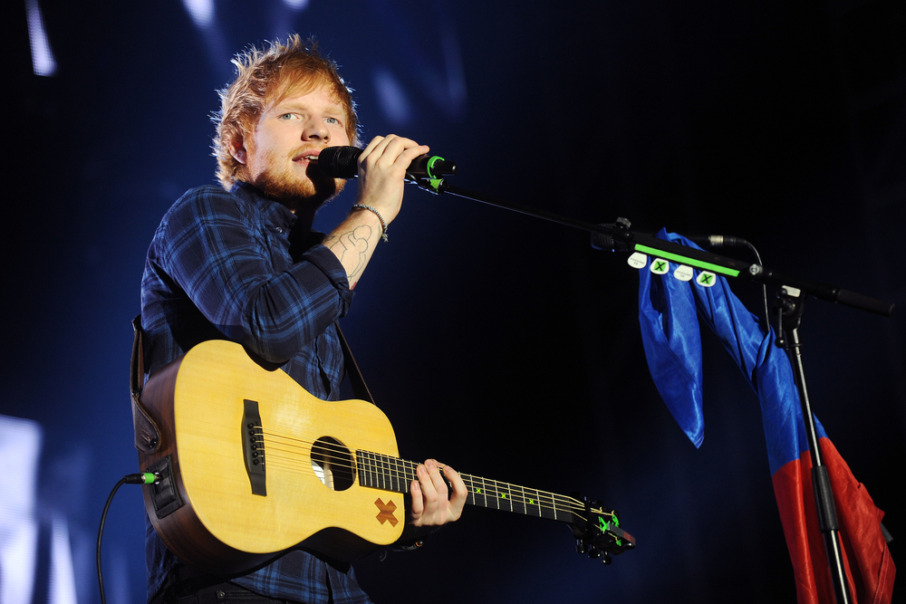Musician-Ed-Sheeran-at-a-performance-in-Prague