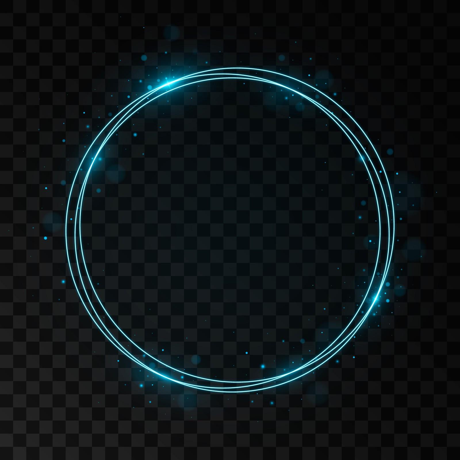 Blue-neon-circle-on-black-background