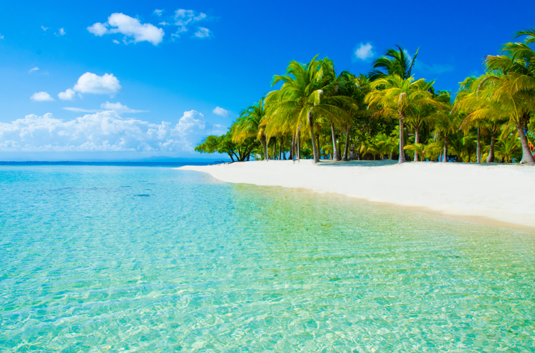 Aqua-waters-white-sandy-beach-and-palms-trees-on-Caribbean-Island