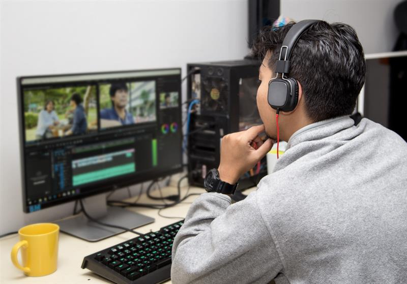 filmmaker editing scenes in post-production